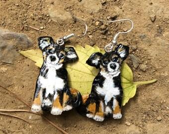 """Chihuahua"" cold porcelain earrings"