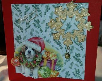 3D card saint Bernard Christmas paper and decor