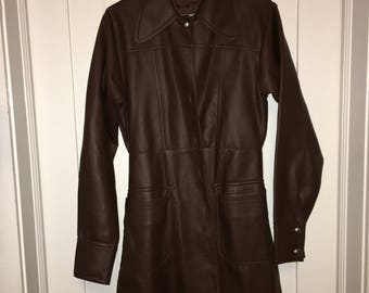 Chocolate Vegan Leather Coat