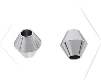 Set of 2 beads, stainless steel, 6 x 5.8 mm, hole 2.2 mm