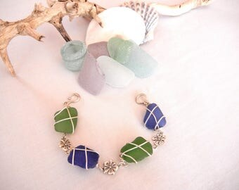 cobalt blue and green bracelet wrapped in sterling silver