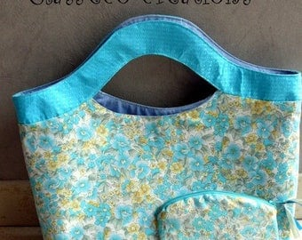 floral tote bag and its matching pouch
