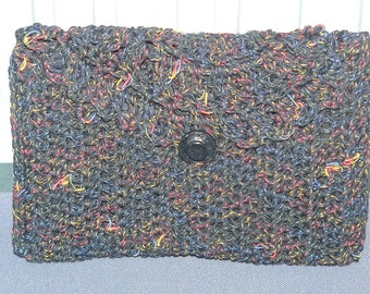 clutch in Black wool, speckled