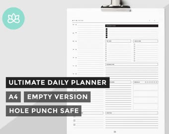 Ultimate Minimal Daily Planner, Printable Daily Organizer, A4