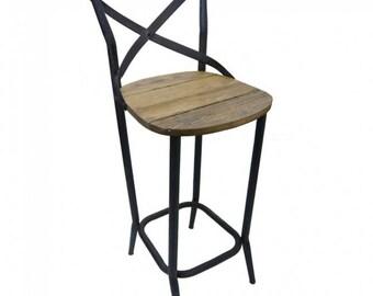 Rustic Cross Back Bar Stool Timber and Metal Barstool