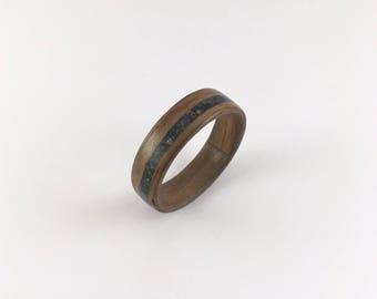 Walnut wood ring // walnut bentwood ring with black inlay