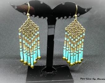 Dangling earrings with tassels, blue, green, bronze