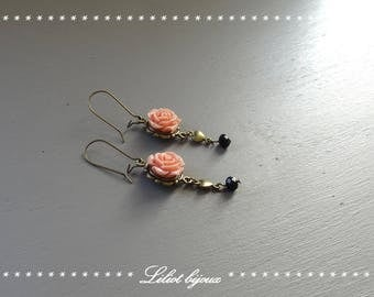 Romantic pink and bronze earrings