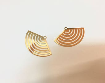 10 estampes fines éventails 19x30mm doré pour créations de bijoux