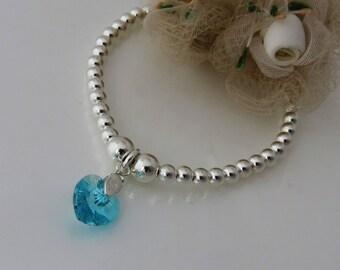 March Birthstone Bracelet, Sterling Silver Beaded Bracelet, Bridesmaid Bracelet,  Aquamarine Crystal Heart Charm Bracelet