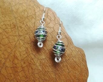 Green cage earrings