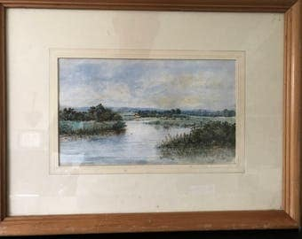Countryside river scene watercolour painting