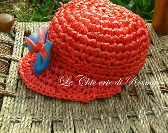 Coral crochet raffia hat with visor