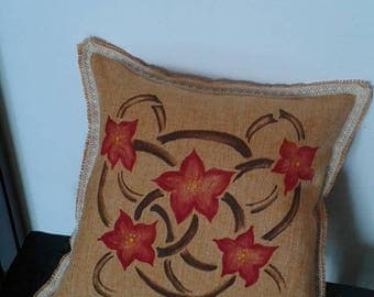 ethnic flower design hand painted pillow