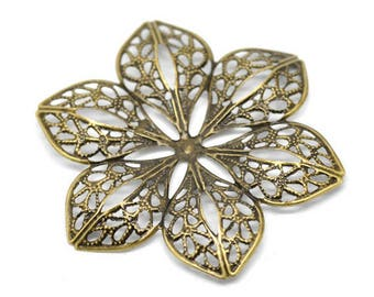 bronze x 2 filigree flower prints