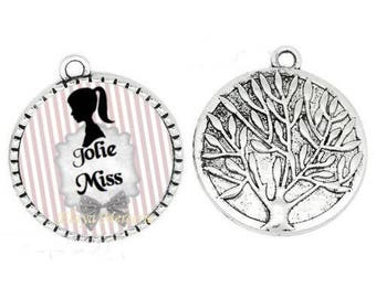 Pendant cabochon resin pretty Miss pink 25mm