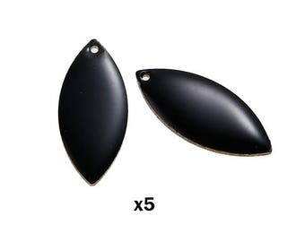 x 5 sheet color enamelled black sequin charm double sided 23mm x 10mm