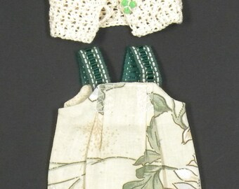 printed cotton pinafore dress restrains Greens and cream Cardigan corolle baby doll