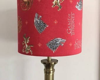 Game of Thrones 20cm Lamp Shade in Red with House Sigils