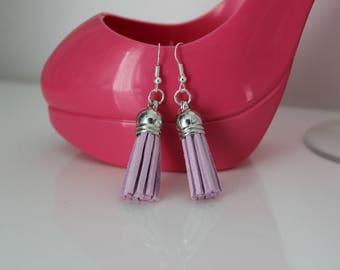 Purple suede tassel earrings