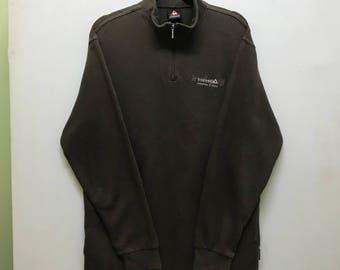 Rare!!! Le Coq Sportif Pullover Small Logo Spellout Embroidered Half Zipper