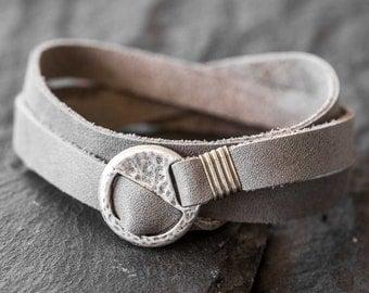 Men's Leather Bracelet - Men's Gray Bracelet - Men's Wrap Bracelet - Men's Bracelet - Men's Jewelry - Men Gift - Husband Gift - Boyfriend