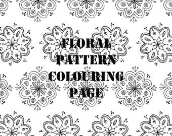 Floral Pattern Detailed Printable Digital Colouring Page