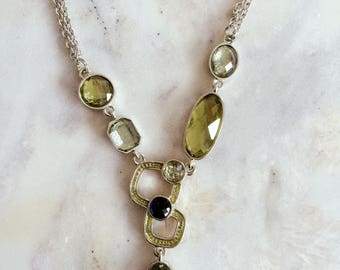 Elegant green & blue crystals drop pendant necklace, statement crystal necklace, fashion necklace
