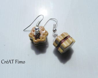 Earrings biscuit filled with polymer clay chocolate mousse, polymer clay