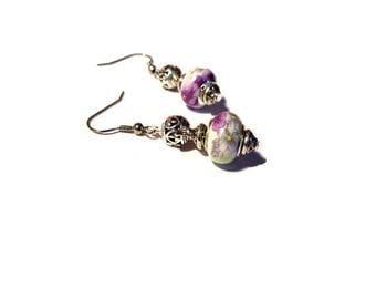 Retro earrings, clay flower beads