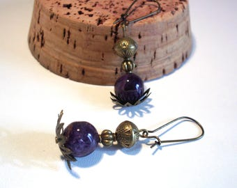 Retro, purple amethyst earrings