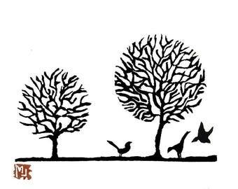 linogravure, linocut, illustration, original, arbre, paysage, tableau, pour sous-verre