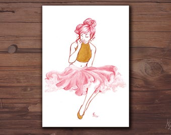 Card A6 - girl with pink skirt