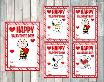 Peanuts Snoopy Valentineu0027s Day Cards Instant Download, Printable Charlie  Brown Valentine Cards, Snoopy Happy