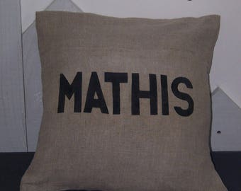 Name in dark gray natural linen with handwriting pillow cover