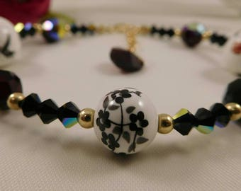 Swarovski Crystal and Oriental Ceramic Beaded Bracelet in Gold Filled