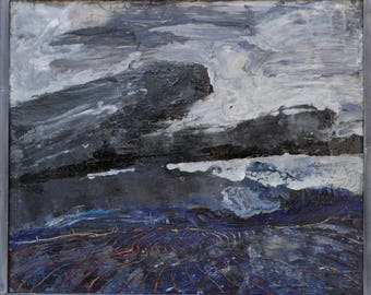 """Storm Cloud — Plein Air Painting Black and Gray Canvas and Oil Art Landscape Painting Oil On Canvas.Size: 24"""" X 20"""" Inches(60cm x 50cm)"""