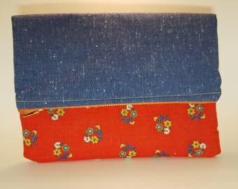 Denim Vintage foldover clutch, vintage clutch purse, handmade clutch, Clutch bag foldover