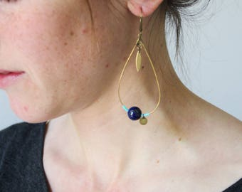 Drop earrings / lapis lazuli