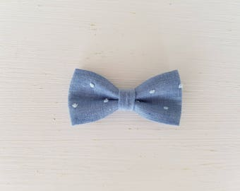 "Barrette large bow tie ""Chambray Satin Blue"""