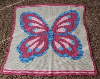 CraftyDesignsByJane.etsy.com pink blue butterfly afghan blanket crochet intarsia handmade girl kid blanket