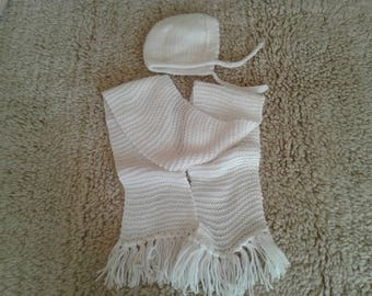 Hand knitted baby scarf, baby hat