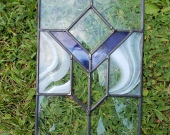 Stained glass panel small purple beveled