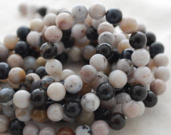 "High Quality Grade A Natural Dendritic Agate (black, white) Semi-precious Gemstone Round Beads - 4mm, 6mm, 8mm sizes - 16"" strand"