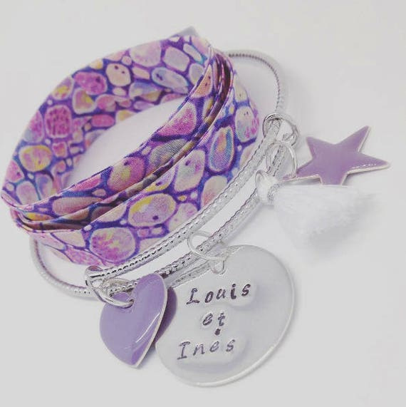 """Silver Bangle purple with personalized engraving """"Hello love"""" by Palilo (1 medal engraved, 1 cute tassel and 2 charms"""