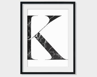 Marble letter print, Alphabet print, Marble print, Modern Print, Monochrome print, Home decoration, Scandinavian print, Minimalist print