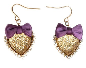 Romantic gold and small heart earrings Valentine's Purple satin bow tie