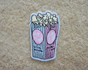 Popcorn Iron On Patch Snacks Embroidered Applique Patches For Jackets