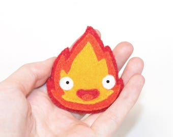 Calcifer Studio Ghibli Kawaii Sewn Felt Brooch / Pin