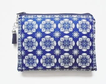 Mum gifts, Travel Pouch, Blue dehli print, Antique Inspired, small zipper bag, travel bag, wallet pouch.